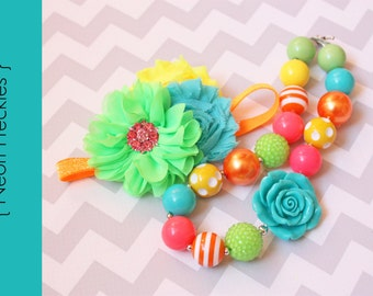 Baby Chunky Necklace or headband { Neon Freckles } Lime, Pink, orange, teal, toddler, First birthday, Summer, Cake smash photography prop