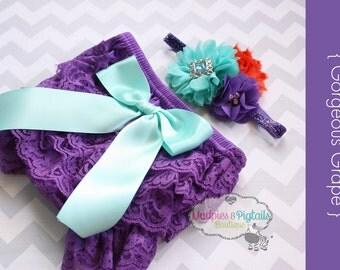 Summer Lace bloomer set { Gorgeous Grape } Purple, orange, aqua Headband, Cake smash set, first birthday newborn, bright summer photography