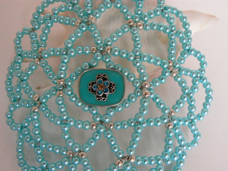 beaded kippah teal pearls silver glass charm