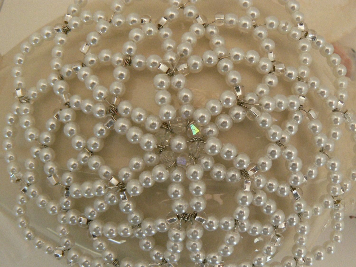 beaded kippah in shades of white pearls clear glass