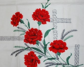 Lovely Red Carnations Vintage Kitchen Towel