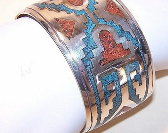 NATIVE AMERICAN/Southwest Sterling Silver, Crushed Turquoise & Coral Cuff Bracelet
