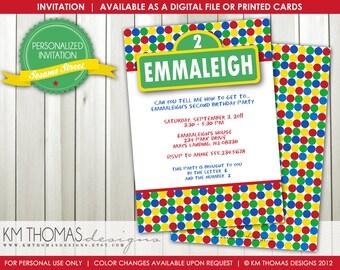 Sesame Street Inspired Birthday Invitation: Red, Green, Yellow, Blue Invitation - Street Sign - Digital - Printable - #106
