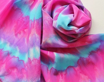 Hand Painted Silk Scarf - Handpainted Scarves Pink Blue Magenta Sky Powder Berry Purple Lavender Bright