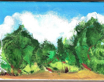 Abstract Landscape Mini Painting Windy Day at Regeal Park