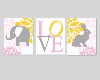 Elephant Bunny Love Trio - Set of Three 11x14 Nursery Prints - CHOOSE YOUR COLORS - Shown in Pink, Gray, Yellow, White