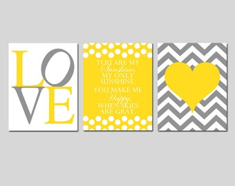 Modern Nursery Trio - Set of Three 11x14 Prints - You Are My Sunshine, LOVE, Chevron Heart - Choose Your Colors - Shown in Yellow and Gray