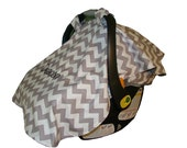 Infant Car Seat Carrier Cover - Tent Cover - Gray Chevron - Embroidery Included