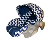 Infant Car Seat Replacement Cover for Graco Snugride 22, 32 and 35 - Padded Carrier Cover - Navy Chevron with Navy Blue Minky