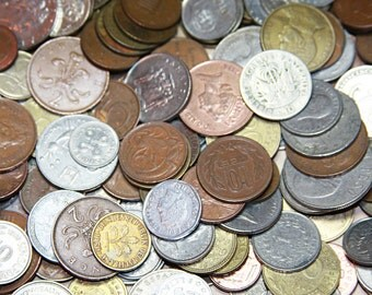 12 Aged International COINS For Mixed Media Altered Art Crafts