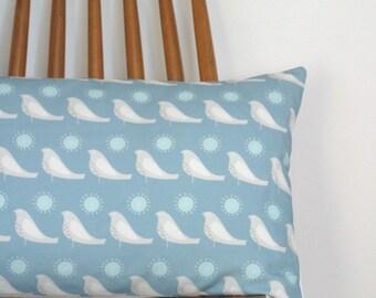 Blue Bolster Cushion Cover in Song Bird fabric pillow sham throw