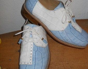 SaLe DONATO MARRONE Vintage Sky Blue Shoes ROCKABILLY  Hipster Swing Dancer Preppy  Classic