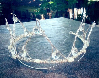Fairytale Wedding Tiara Crown Crystal and Moonstone