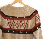 vintage NORDIC style sweater. S