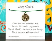 Lucky Charm - Wish Bracelet With Golden Clover Coin - Shown In The Color CHRISTMAS  - Over 100 Different Colors Are Also Available