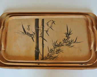 Vintage Bamboo Nesting Trays, set of 3, 1960s Asian Nesting Trays, Wood Tray, Boho Vintage Home Decor, Tiki Bar Serving Trays