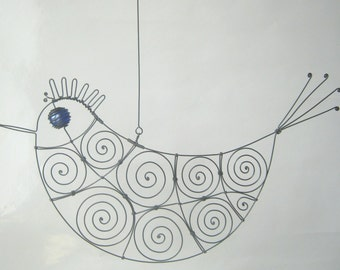 Wire Sculpture Cobalt - Eyed Metal Bird