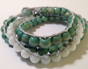 Beaded wrap bracelet, mint green and white - repurposed, upcycled beads! CHRISTMAS Stocking Stuffer