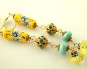 Beaded Flower Earrings - Gold Filled