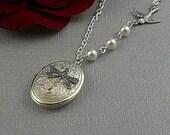 Silver Dragonfly Locket, Dragonfly Necklace, Swallow Sparrow, Pearls Romantic Oval Locket-  VANESSA
