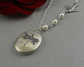 Silver Dragonfly Locket, Dragonfly Necklace, Swallow Sparrow, Pearls Romantic Oval Locket-  VANESSA