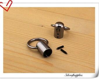 8pcs Gunmetal cord cap end stopper Rope stopper  belt stopper  purse hook P115