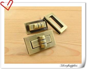 Purse twist-locks Purse Flip Locks 40 mmx 23mm (1.5 inch x 1 inch ) Polish anti brass N26