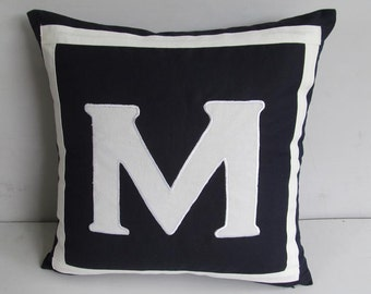 Black monogrammed pillows 12 inch black  pillow cover with white letter and border