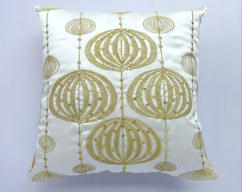 Ivory decorative pillow cover with gold lantern embroidery and stonework 18 inch 2in stock