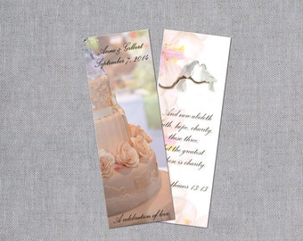Wedding Bookmarks - Custom Bookmark Favors - Thank You Bookmarks - Personalized Wedding Favors - Bridal Bookmarks - Set of 50