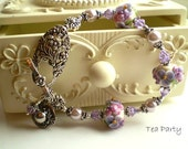 RESERVED for Lisa - TEA PARTY - Lampwork and Sterling Silver Bracelet