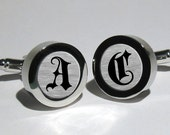 Old English Initial mens cufflinks / Wedding Gift / Anniversary Gift / Monogram Cufflinks / Personalized Cufflinks / Valentines Gift
