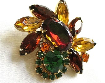 Vintage Verified D&E JULIANA Watermelon, Amber, Topaz and Green Rhinestones Brooch or Pin