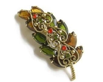 Vintage JULIANA Style Amber, Green, Topaz and Orange Rhinestone Filigree Leaf Brooch or Pin