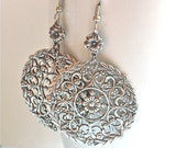 Silver Filigree Earrings - Large Earrings, Medallion