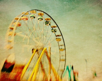 BUY 2 GET 1 FREE Carnival Photo, Carnival Ride, Ferris Wheel, Golden, Dreamy, Pastels, Nursery Decor, Green Red, Toronto - In Motion