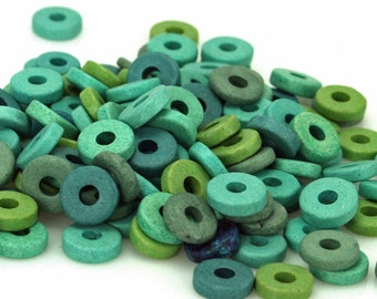 Greek Beads 100 Verdigris Color Mix Matte Ceramic 8mm Washer Shaped Beads Large Holed Bead