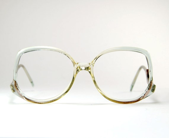 Eyeglass Frames Crystal Clear : Vintage 70s Oversize Crystal Clear Aqua Blue Fade Eyeglass