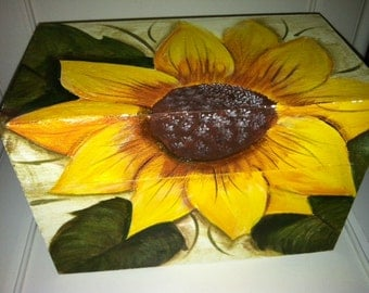 Sunflower Hand Painted wood Recipe box. treasure. for Grandma's favorite recipes, that you can add your own into
