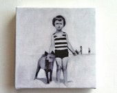 Summer day / Tiny canvas print /art print / CHILDREN / STRIP / black and white small print / sea drawing-- wall hanging