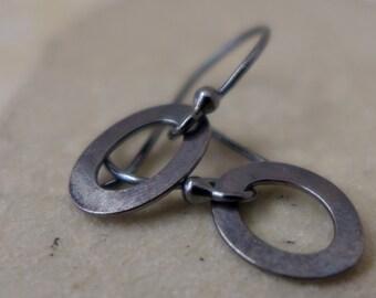 Sterling Silver Oval Earrings Rustic Earrings Short Dangle Hoops Oxidized Hammered Minimalist Light Hoop Earrings Silver Earrings