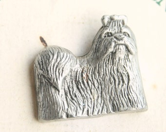 Maltese Dog Pin Vintage Figural Pewter Tie Tac Pin Brooch