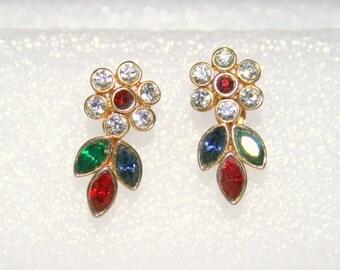 Vintage Rhinestone Flower Earrings Pierced Vintage Colorful Red Green Blue