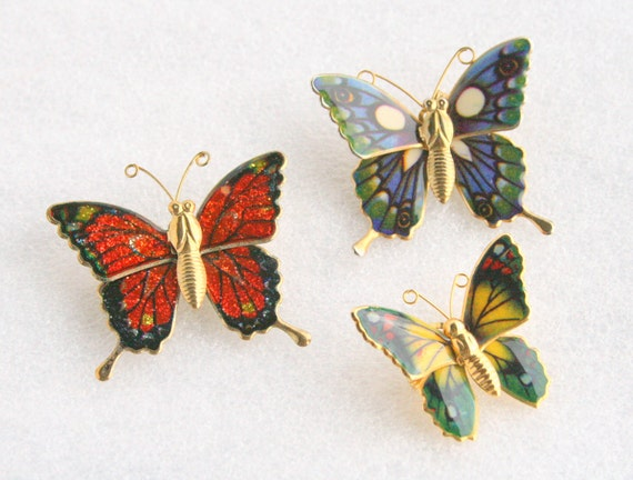 Butterfly Brooch Lot of 3 Vintage Butterfly Figural Pins Colorful Poured Enamel Wings