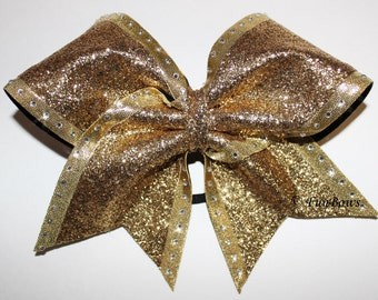 Totally GOLD Blinged out Cheerleading Bow Rhinestones Galore by Funbows !