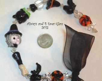 Witchin Hour- Handmade Glass Lampwork Halloween Beads