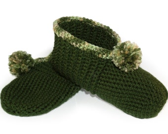 Green Crocheted Slippers (It's About Thyme) - Tan, Crochet, Thyme, Earthy, Nature, Woods, Spice, Adults, Womens, Mens