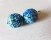 Blue Crackle Babies, earring pair. Polymer clay artisan beads with gold glitter shards and crackling effect.