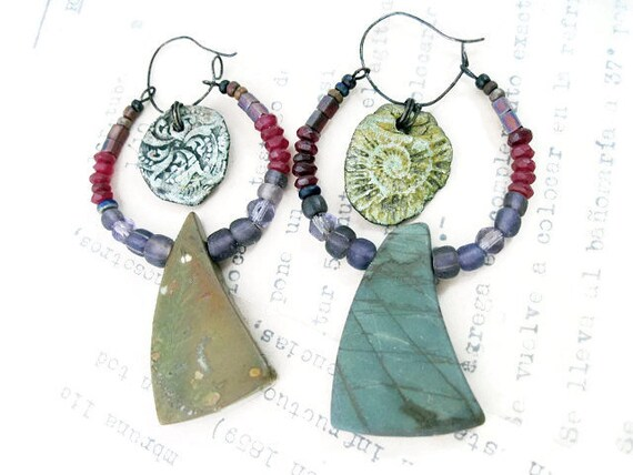 The Garden Gnomon. Rustic bohemian green purple red art assemblage earrings.