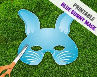 Blue Bunny Printable Easter Mask, Rabbit Mask, Hare Printable Mask, Spring Easter Mask